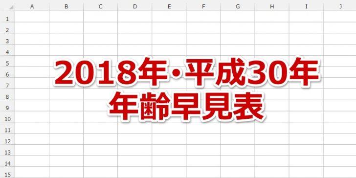 年齢早見表/西暦・和暦・十二支/2018年・平成30年